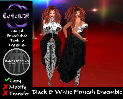 Black & White Fitmesh Ensemble